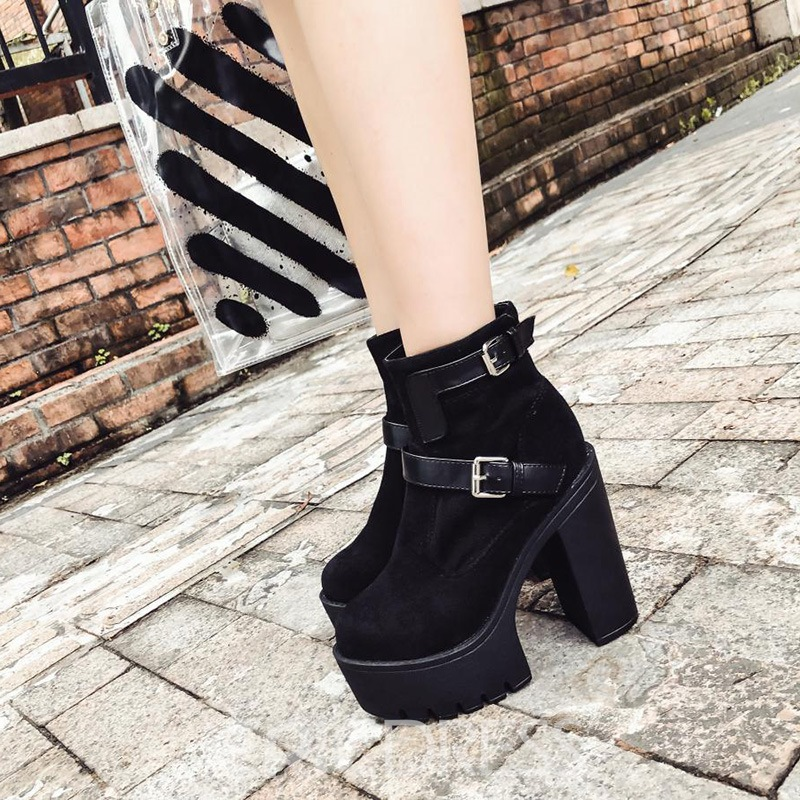Ericdress Patchwork Round Toe Platform Chunky Heel Women's Ankle Boots
