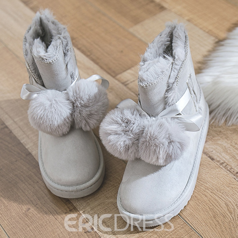 Ericdress Pompon Lace-Up Front Women's Snow Boots