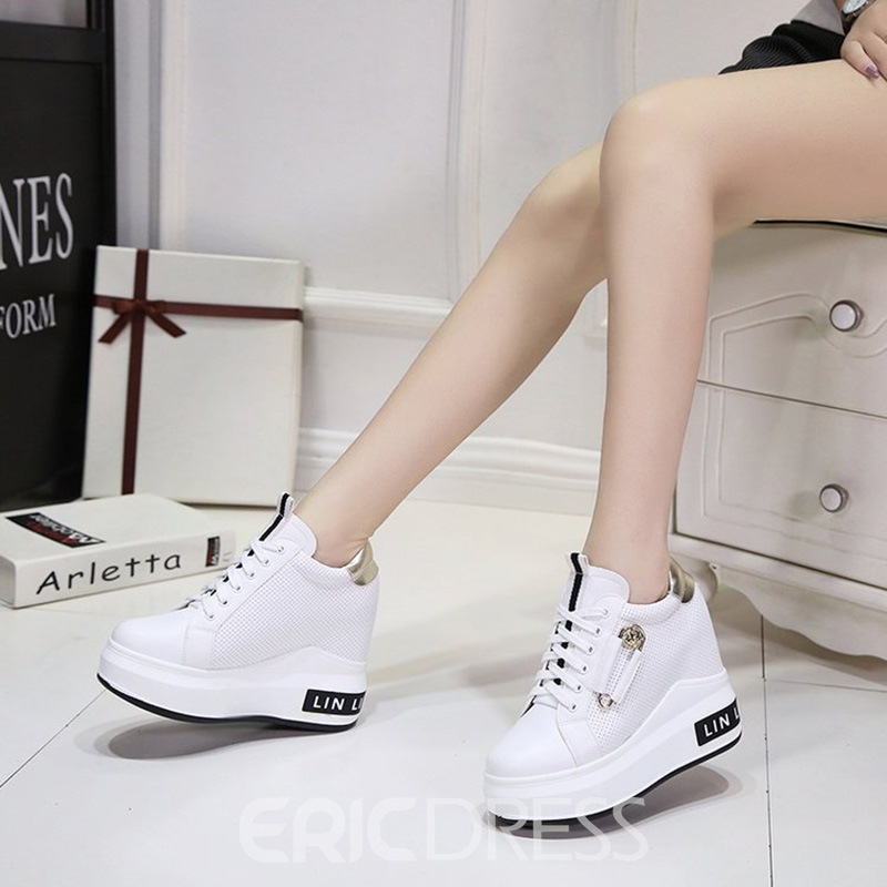 Ericdress Plain Round Toe Hidden Elevator Heel Women's Sneakers