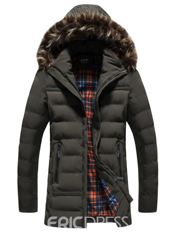 Ericdress Plain Mid-Length Thick Mens Winter Quilted Coats