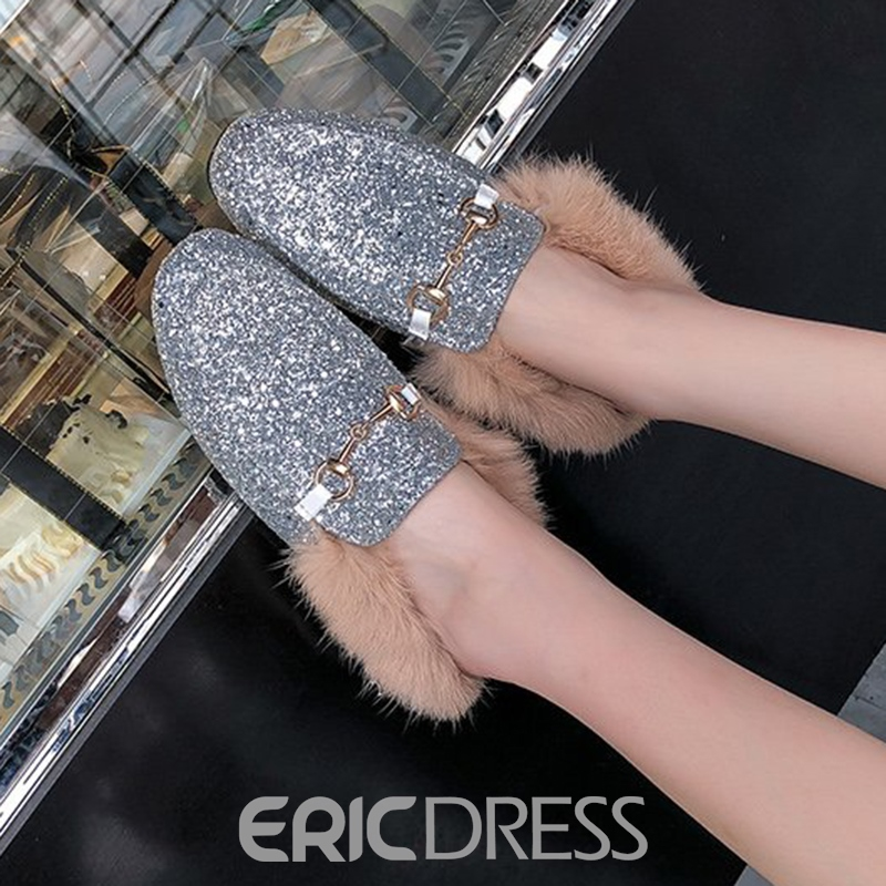 Ericdress Sequin Block Heel Slip-On Women's Mules Shoes