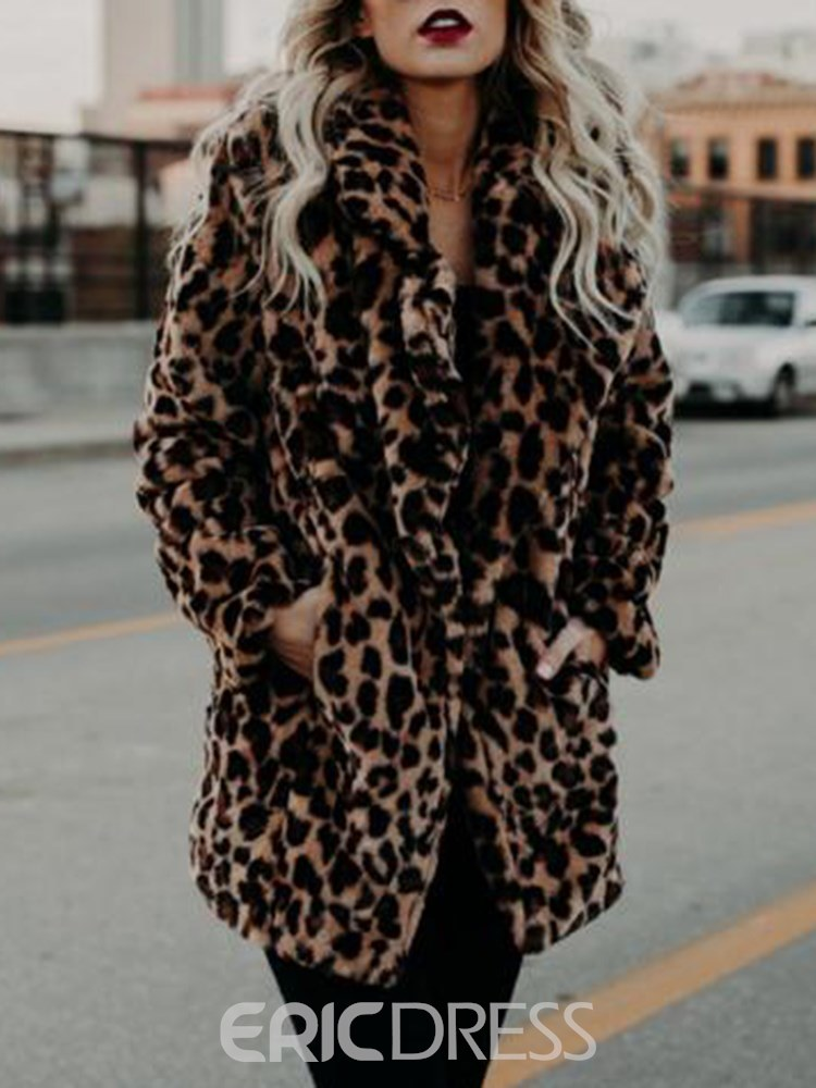 Ericdress Leopard Sexy Mid-Length Print Long Sleeves Coat