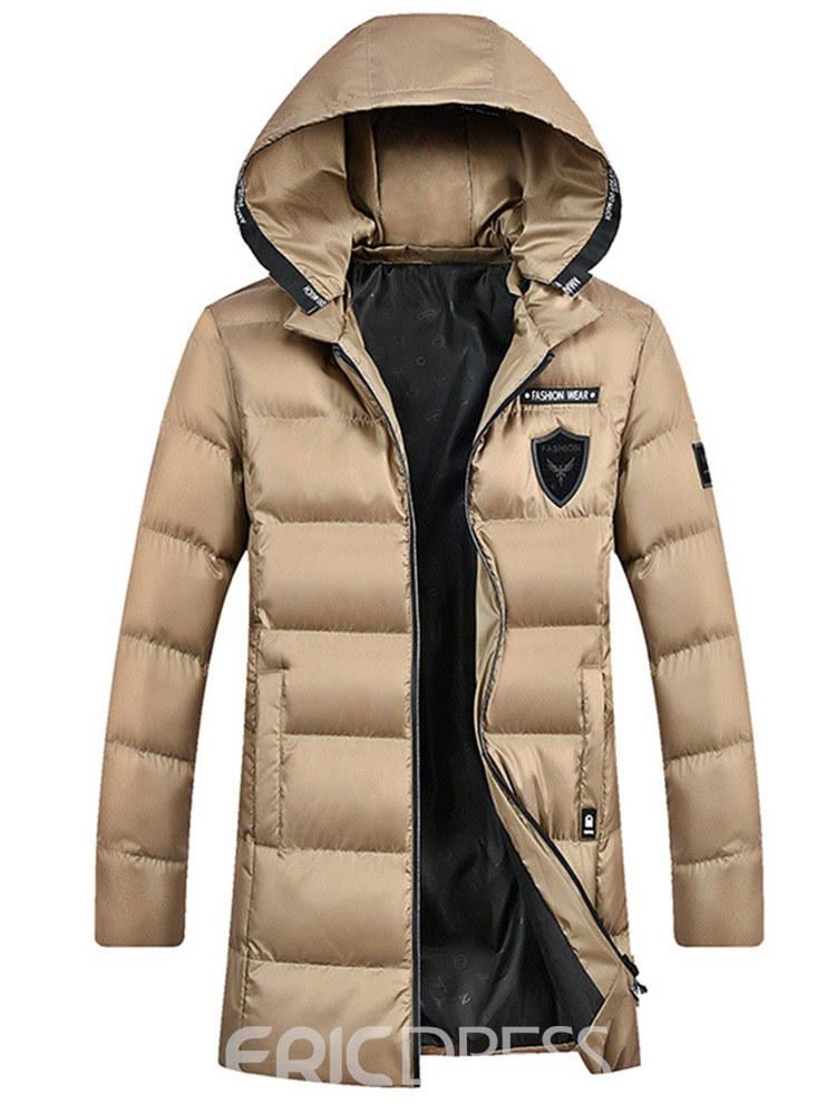 Ericdress Plain Mid-Length Hooded Zipper Thick Mens Down Coats