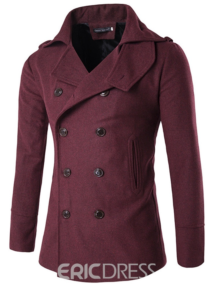Ericdress Plain Double Breasted Slim Lapel Mens Wool Coats
