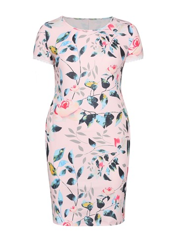 Ericdress Floral Patchwork Twilled Satin Bodycon Dress