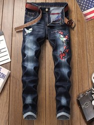 Ericdress Floral Embroidery Mens Pencil Jeans фото