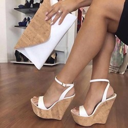 Ericdress Plain Line-Style Buckle Wedge Sandals фото