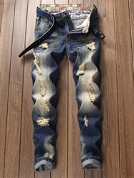 Ericdress Color Block Dark Blue Mens Ripped Jeans фото