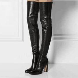 EricdressSlip-On Pointed Toe Chunky Heel Knee High Boots
