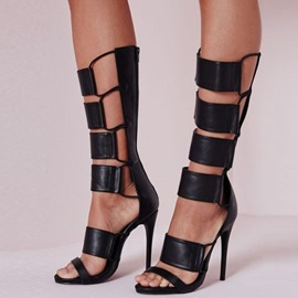 Ericdress PUZipper High Shaft Stiletto Sandals