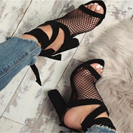 Ericdress Strappy Hollow Lace-Up Chunky Sandals
