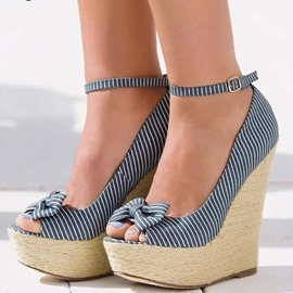 Ericdress Bowknot Stripe Peep Toe Platform Wedge Sandals