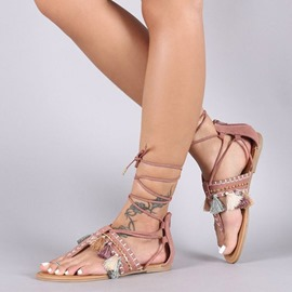 Ericdress Plain Cross Strap Fringe Thong Flat Sandals