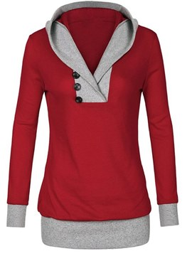 Ericdress Color Block Mid-Length Patchwork Button Cool Hoodie