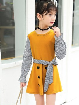 vestido de manga larga ericdress patchwork stripped bowknot