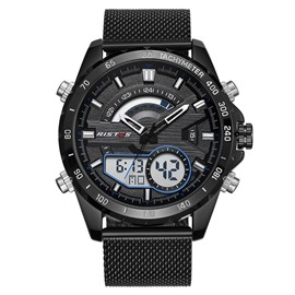 Ericdress Double Dial LED Fashion Stainless Steel Band Watch For Men