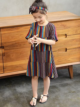 Ericdress Printed Stripped Half Sleeve A-Line Girl's Casual Dress