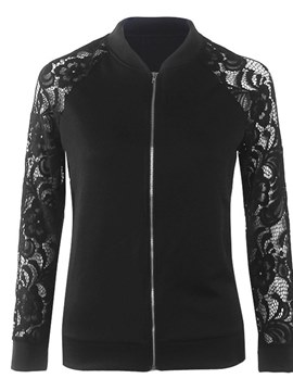 Ericdress Zipper Lace Patchwork Jacket