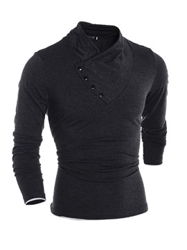 Ericdress Plain Shawl Collar Slim Long Sleeve Mens Casual T Shirts