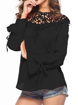 Ericdress Lace Flare Sleeve Round Neck Long Sleeve Standard Blouse