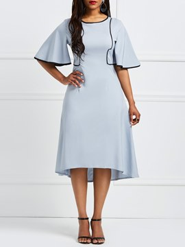 Ericdress Gray Flare Sleeve Patchwork Half Sleeves Casual Dress