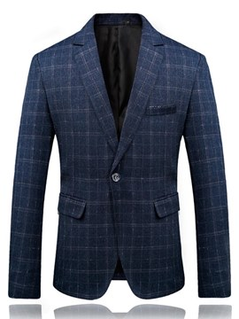Ericdress Plaid One Button Slim Fitted Mens Casual Dress Blazer