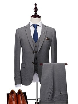 Ericdress Plaid Casual Business Mens 3 Pieces Suits