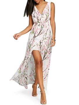 Ericdress White V-Neck Floral Ladylike Casual Dress