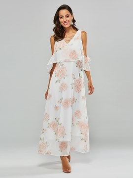 Ericdress Cold Shoulder Floral Print Dresses