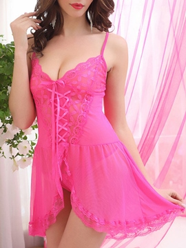 Eridress Slit Up Wave Cut See-Through Lace-Up Babydoll