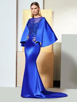 Ericdress Puffle Sleeve Mermaid Evening Dress With Beadings