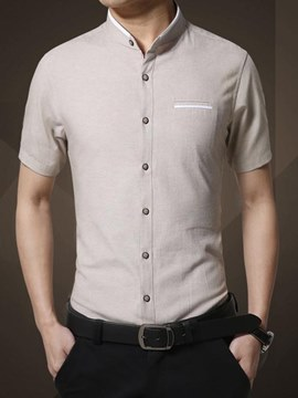 Ericdress Plain Slim Fitted Stand Collar Short Sleeve Mens Casual Shirts