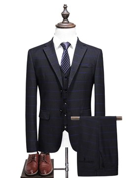 Ericdress Plaid Black Mens 3 Pieces Casual Business Wedding Suits