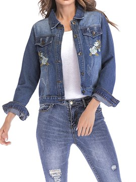 Ericdress Hole Embroidery Single-Breasted Jacket