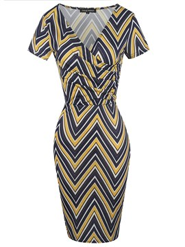 Ericdress V-Neck Stripe Ladylike Bodycon Dress