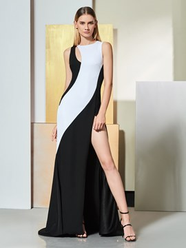 Ericdress Sheath Black And White Evening Dress With Split Front