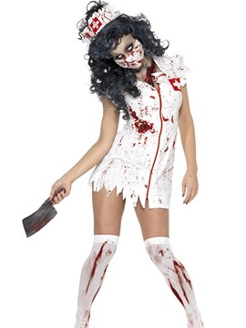 Ericdress Paint Splatters Zipper Bloody Mary Nurse Costume