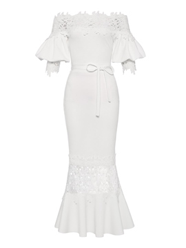 Ericdress White Slash Lantern Sleeve Neck Lace Maxi Dress