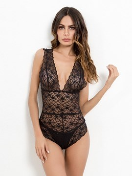Ericdress V-Neck Floral See-Through Sexy Teddy Bodysuit