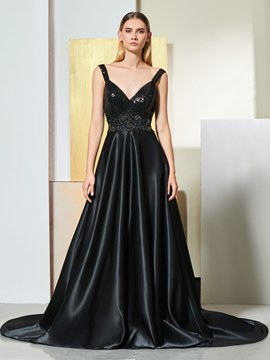 Ericdress Straps A Line Black Long Evening Dress With Beadings