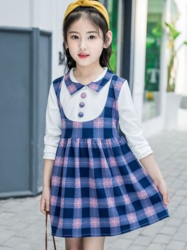 Ericdress Plaid A-line Double-Layer Long Sleeve Girl's Casual Dress