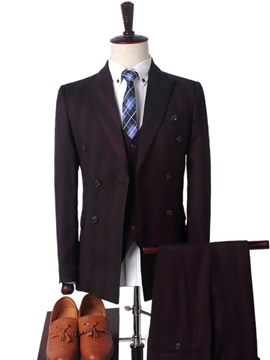 Ericdress Stripped Button Designed Mens Casual 3 Pieces Suits
