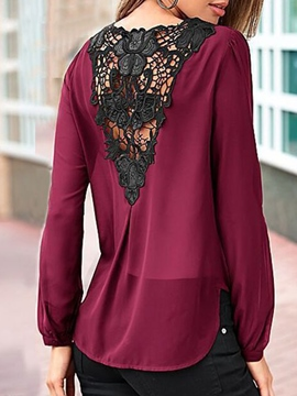 Ericdress Regular Patchwork V-Neck Standard Long Sleeve Blouse