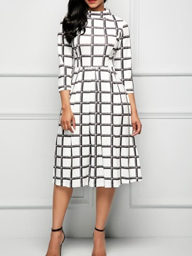 Ericdress Gingham Mid-Calf Pullover Casual Dress