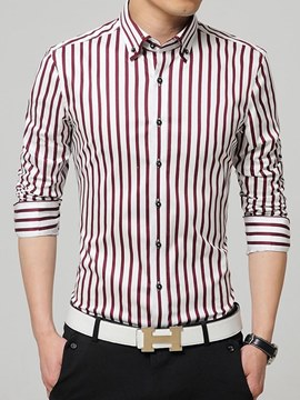 Ericdress Striped Slim Fitted Button Down Long Sleeve Mens Shirts