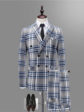 Ericdress Plaid Double Breasted Blazer Pants Vest Mens Casual Suits