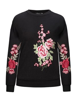 Ericdress Roll-up Floral Print Long Sleeves Sweatshirt