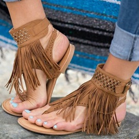 Ericdress Fringe Strappy Thong Flat Sandals