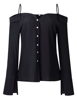 Ericdress Plain Button-Down Cold Shoulder Long Sleeve Womens Top