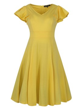 Ericdress Yellow V-Neck Cap Sleeve Elegant A-Line Dress